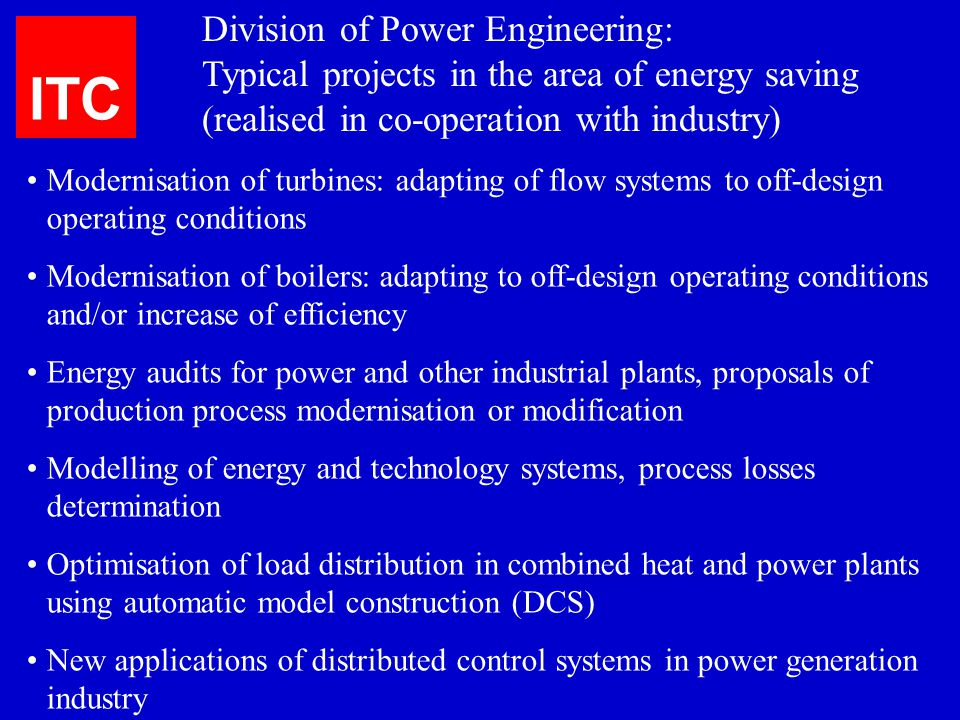 ITC Division of Power Engineering: