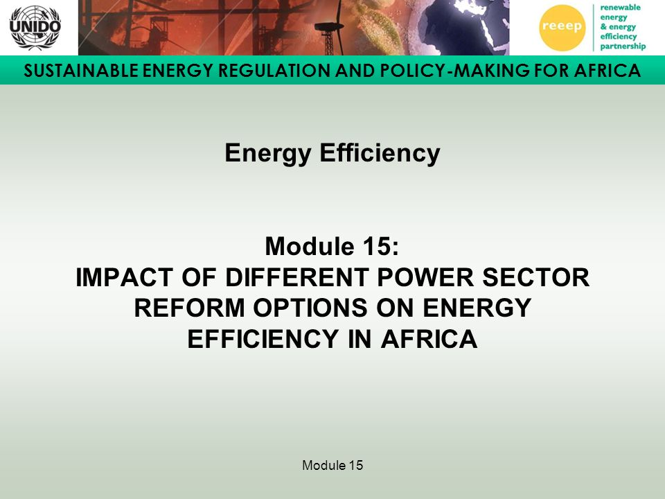 Energy Efficiency Module 15: IMPACT OF DIFFERENT POWER SECTOR REFORM OPTIONS ON ENERGY EFFICIENCY IN AFRICA