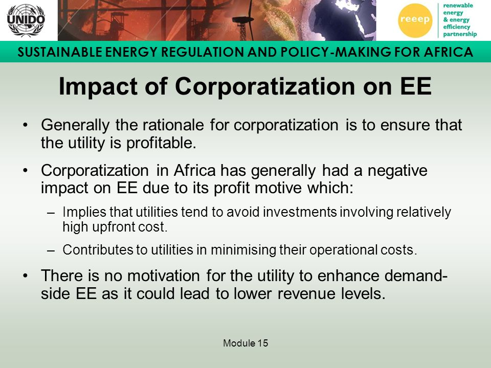 Impact of Corporatization on EE