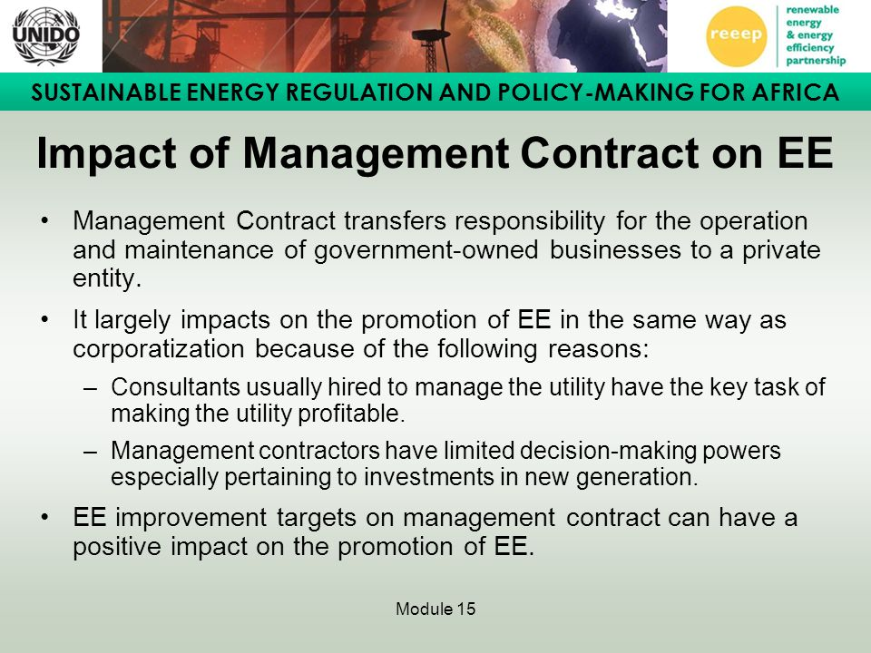 Impact of Management Contract on EE