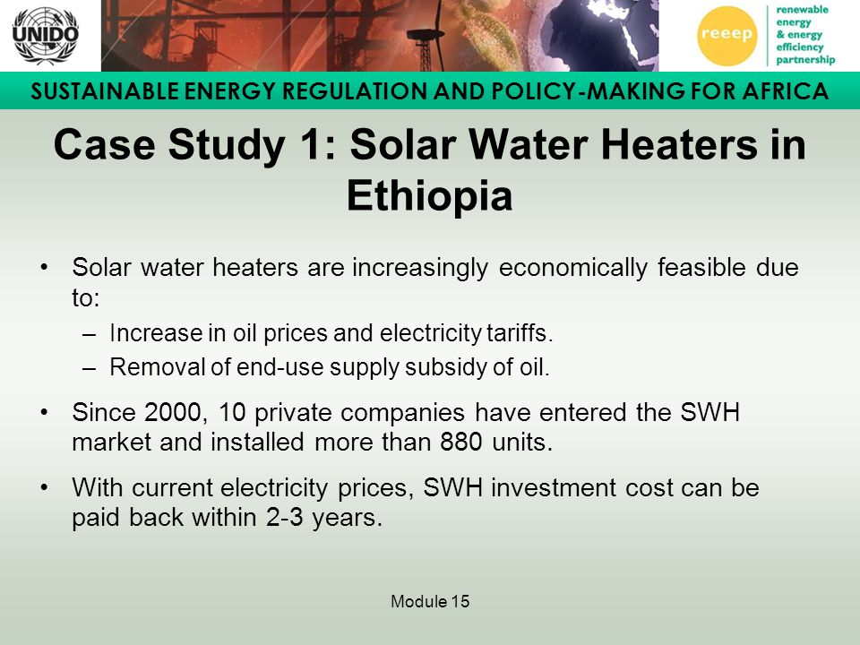 Case Study 1: Solar Water Heaters in Ethiopia