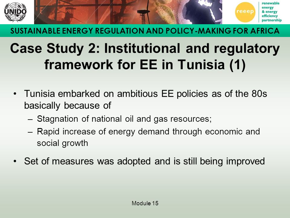 Case Study 2: Institutional and regulatory framework for EE in Tunisia (1)