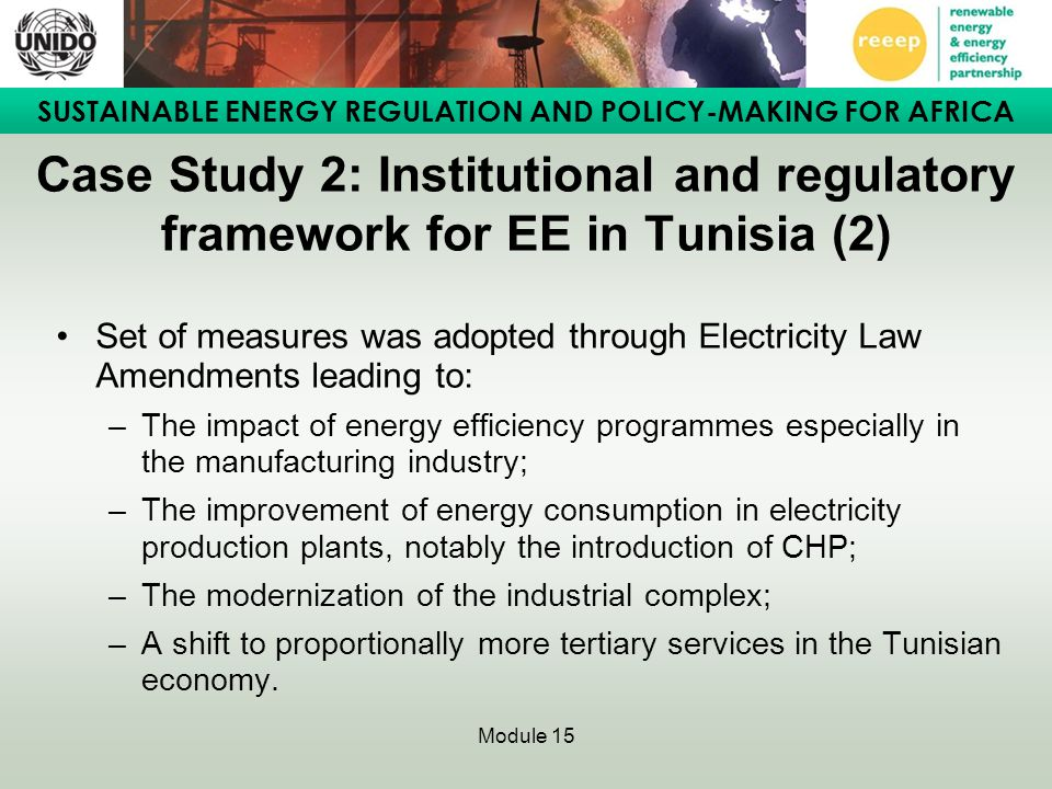Case Study 2: Institutional and regulatory framework for EE in Tunisia (2)