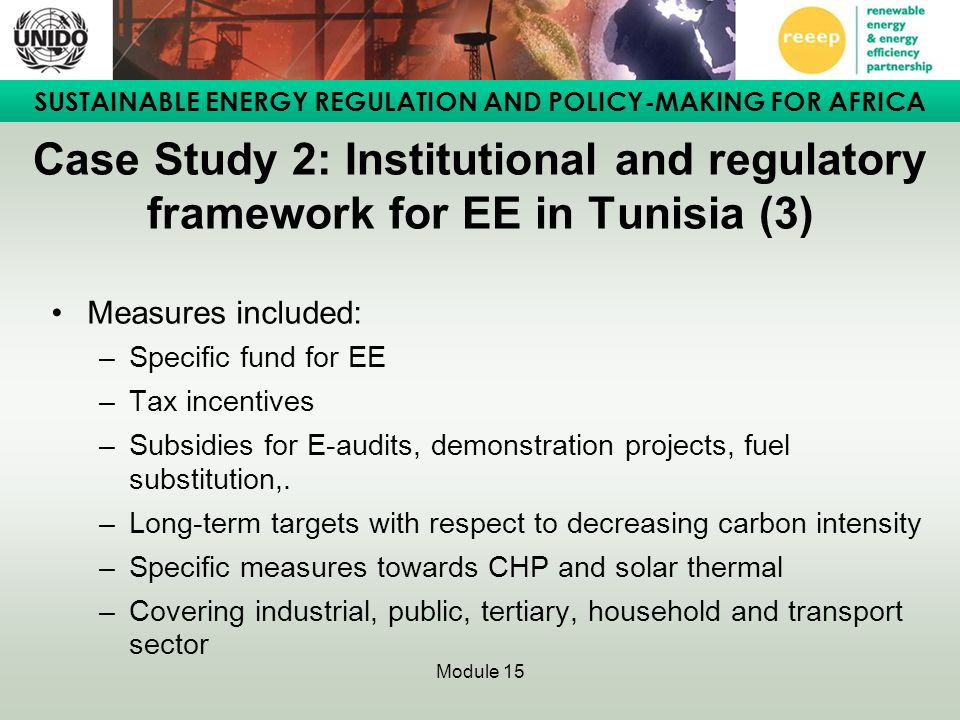 Case Study 2: Institutional and regulatory framework for EE in Tunisia (3)
