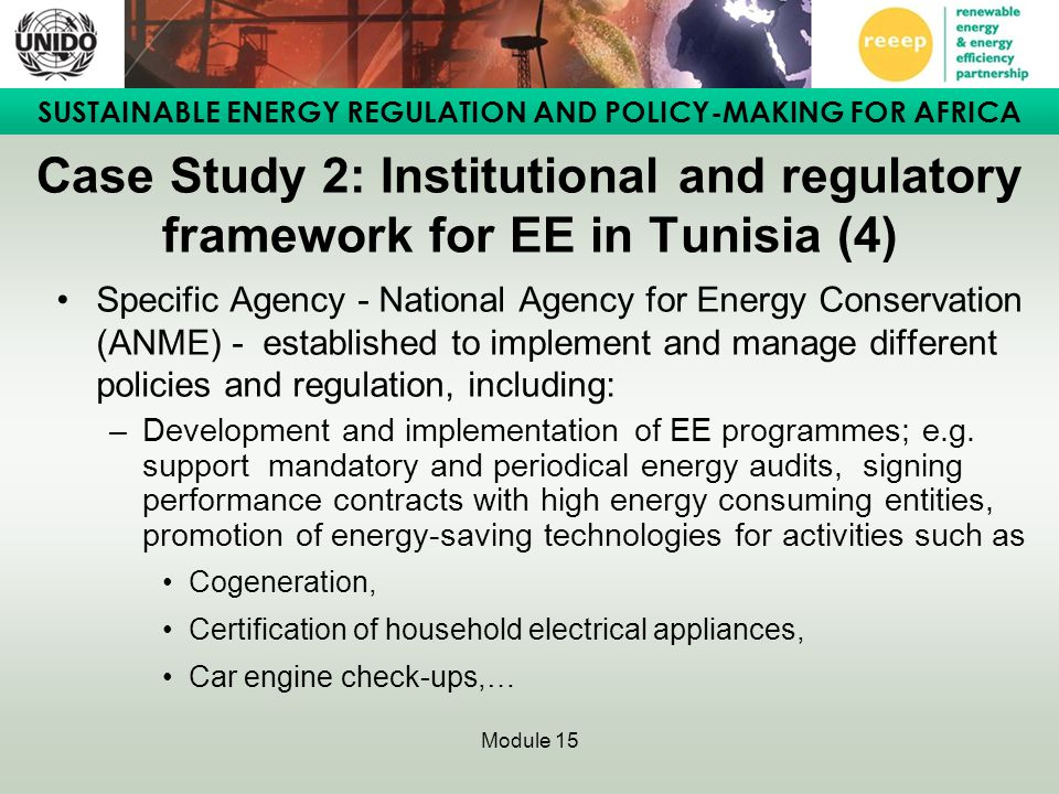 Case Study 2: Institutional and regulatory framework for EE in Tunisia (4)
