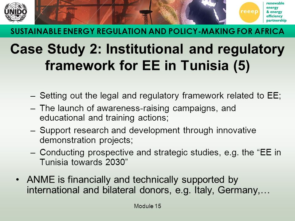 Case Study 2: Institutional and regulatory framework for EE in Tunisia (5)
