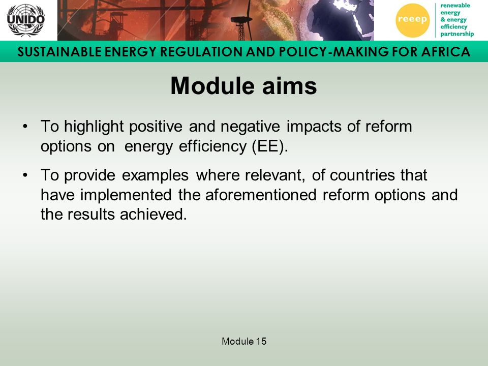 Module aims To highlight positive and negative impacts of reform options on energy efficiency (EE).