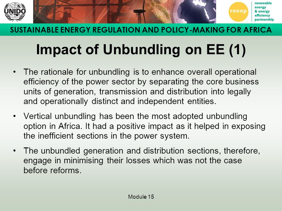 Impact of Unbundling on EE (1)