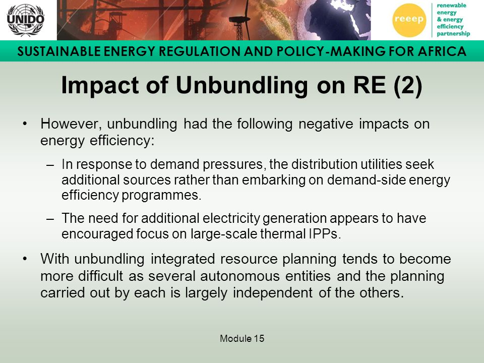 Impact of Unbundling on RE (2)