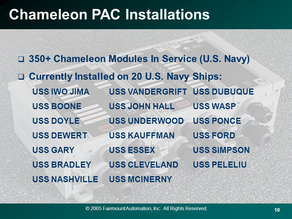 Chameleon PAC Installations