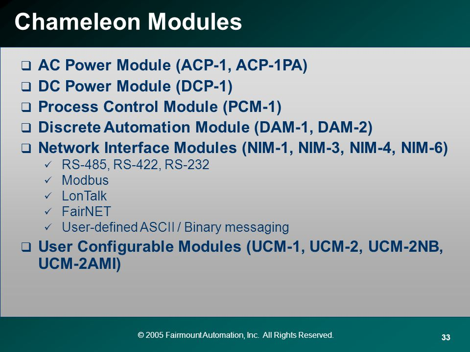Chameleon Modules AC Power Module (ACP-1, ACP-1PA)