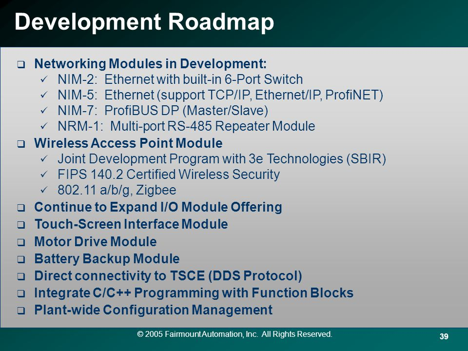 Development Roadmap Networking Modules in Development: