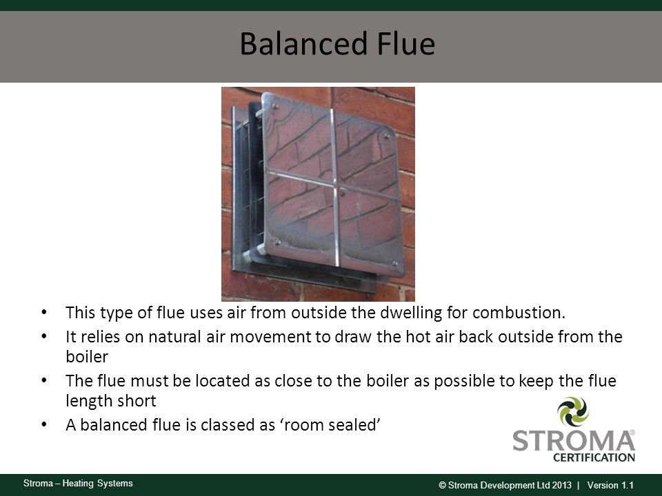 Balanced Flue This type of flue uses air from outside the dwelling for combustion.