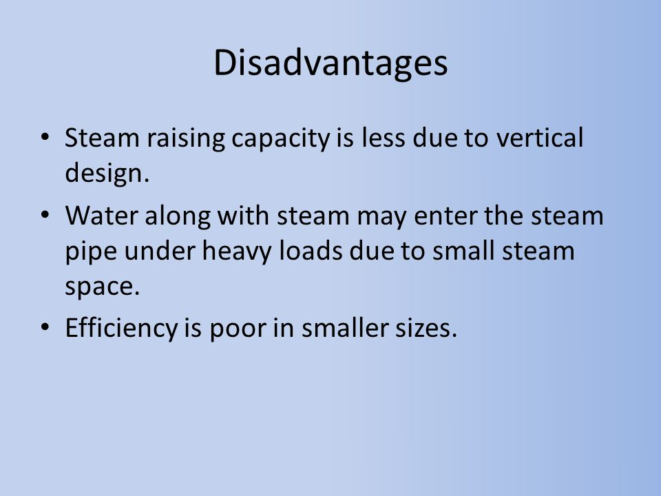 Disadvantages Steam raising capacity is less due to vertical design.