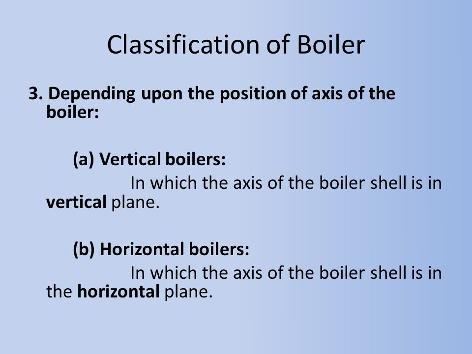 Classification of Boiler