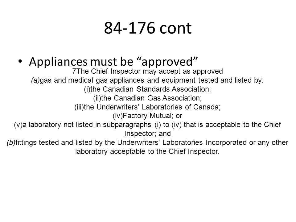 84-176 cont Appliances must be approved