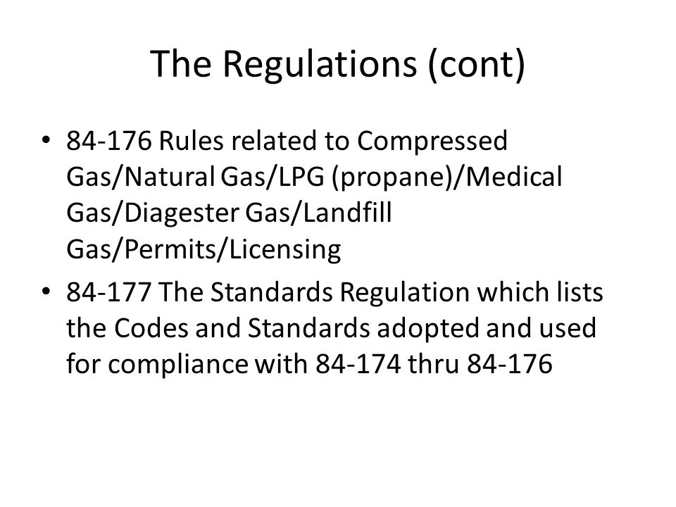 The Regulations (cont)