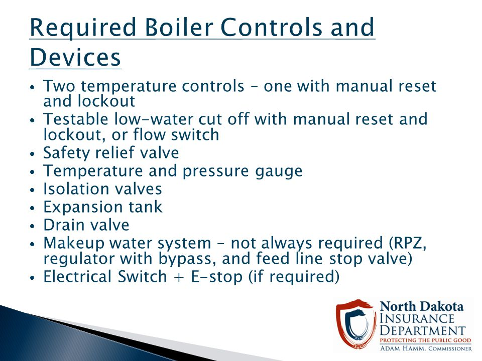 Required Boiler Controls and Devices
