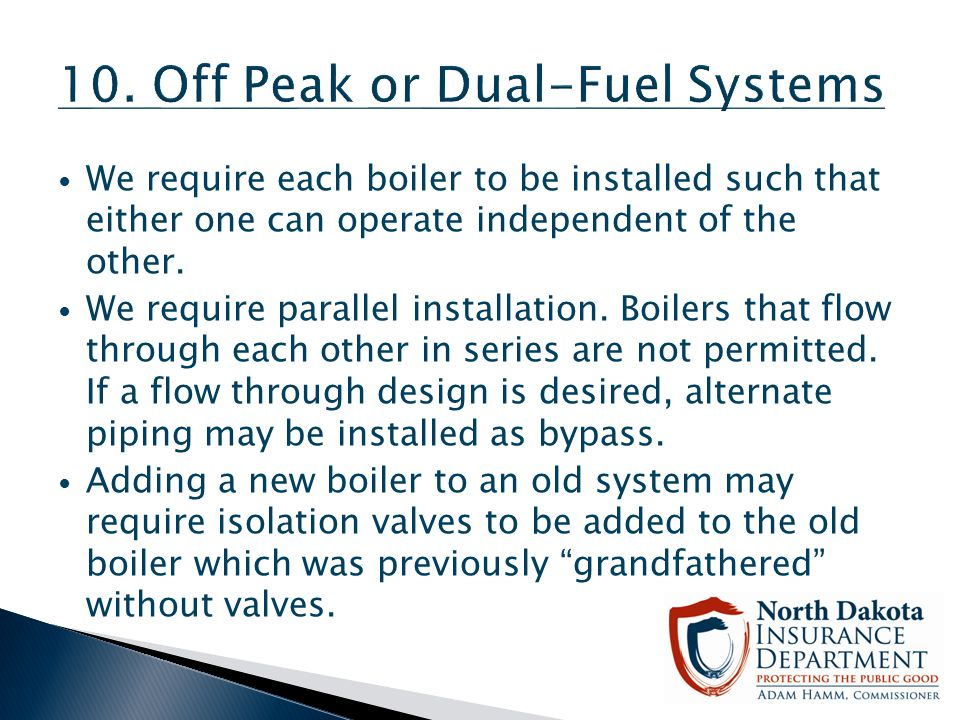 10. Off Peak or Dual-Fuel Systems