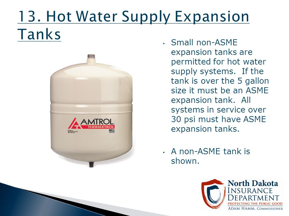 13. Hot Water Supply Expansion Tanks