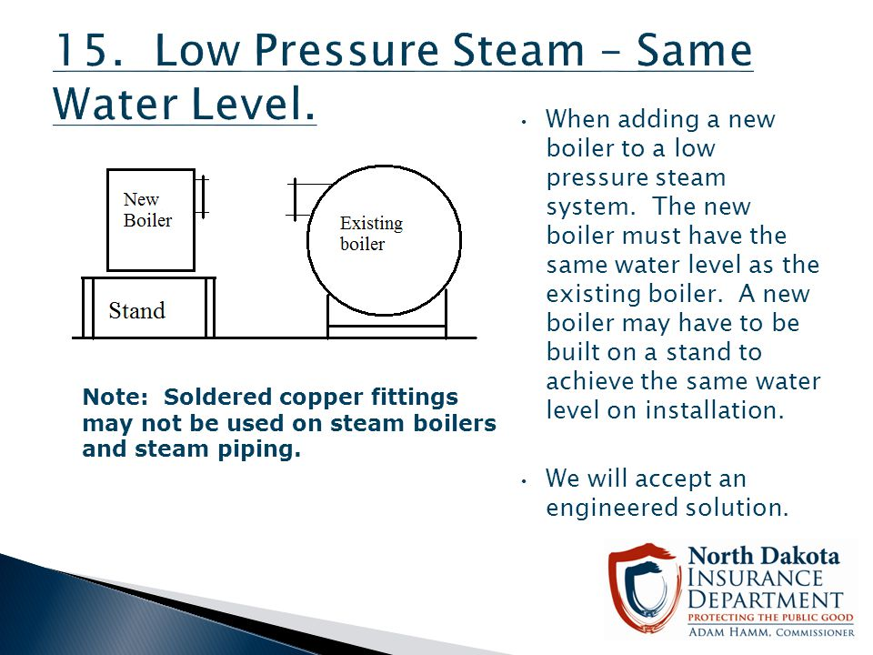 15. Low Pressure Steam – Same Water Level.