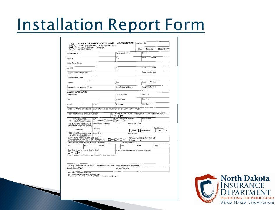 Installation Report Form