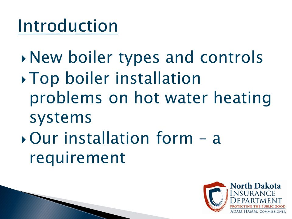 Introduction New boiler types and controls