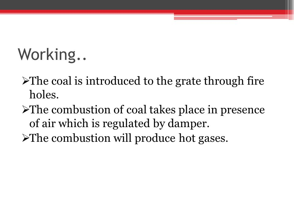 Working.. The coal is introduced to the grate through fire holes.