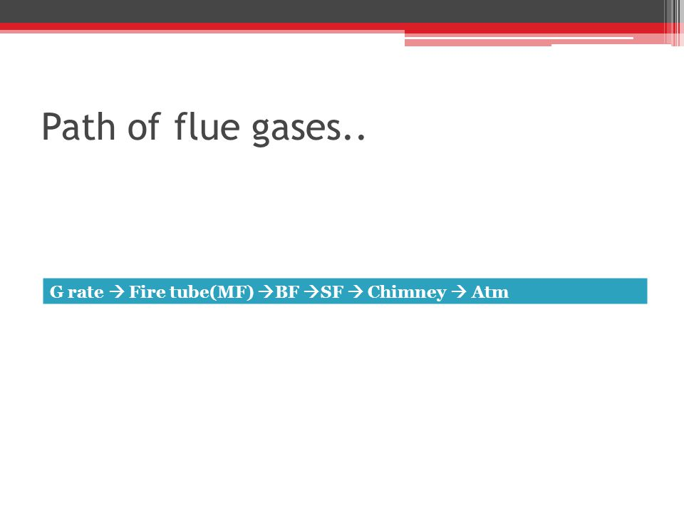 Path of flue gases.. G rate  Fire tube(MF) BF SF  Chimney  Atm