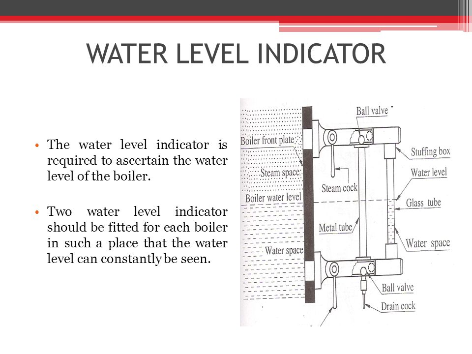 WATER LEVEL INDICATOR The water level indicator is required to ascertain the water level of the boiler.