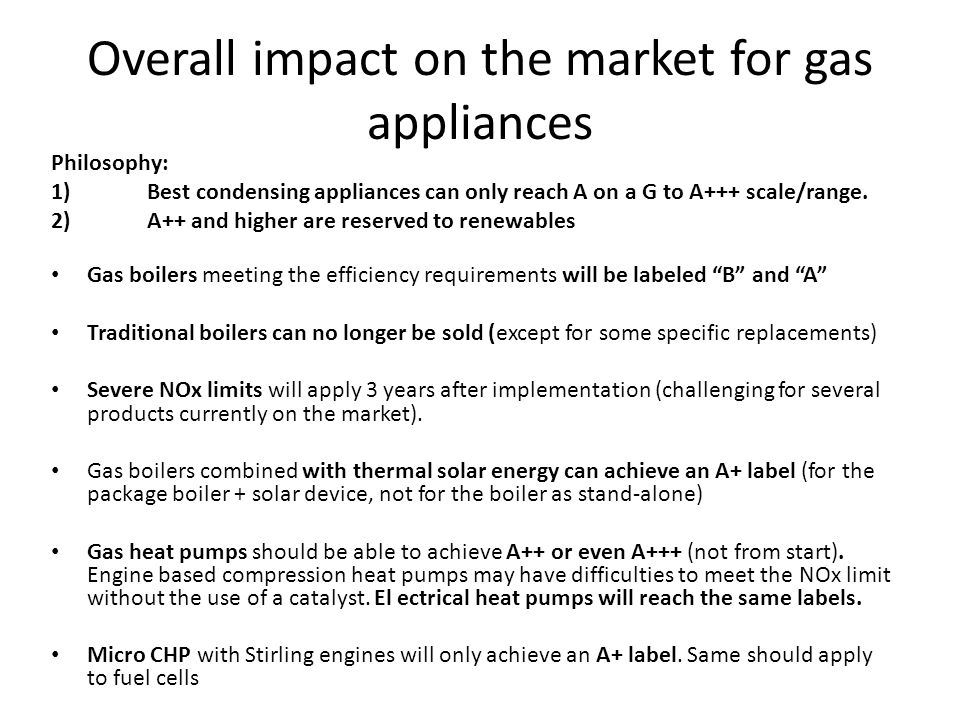 Overall impact on the market for gas appliances