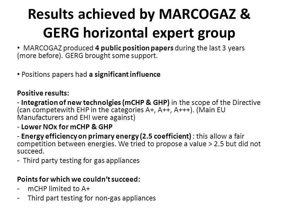 Results achieved by MARCOGAZ & GERG horizontal expert group