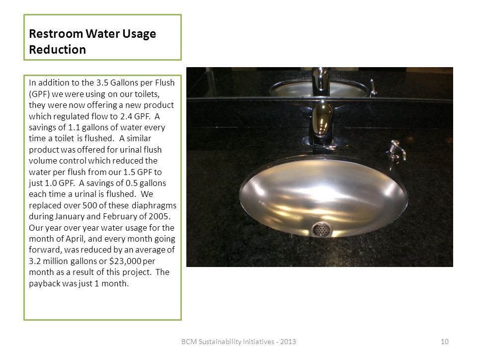 Restroom Water Usage Reduction