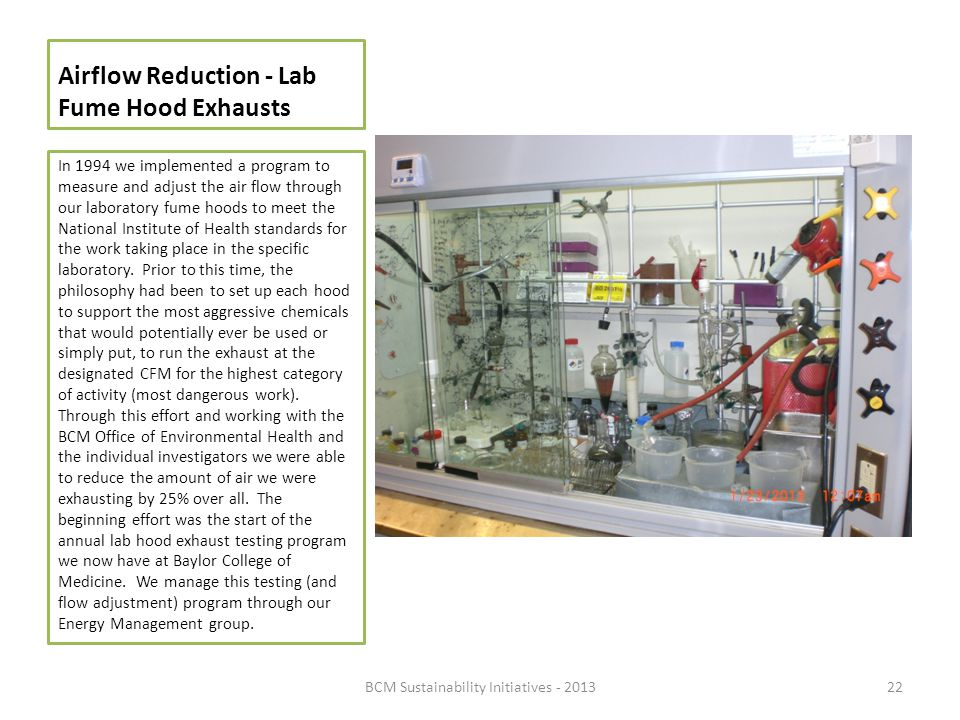Airflow Reduction - Lab Fume Hood Exhausts