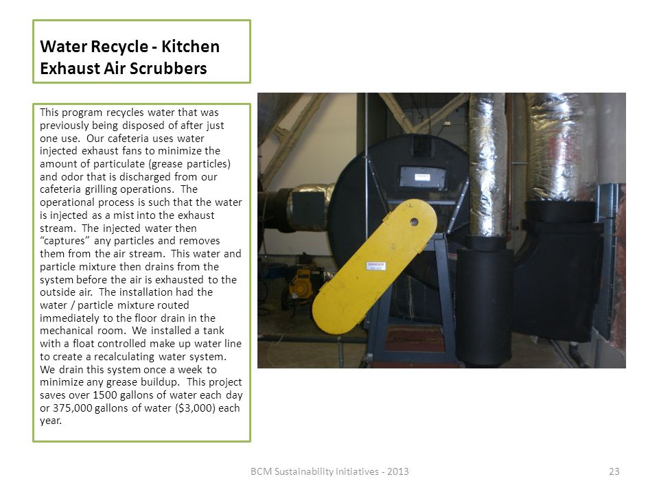 Water Recycle - Kitchen Exhaust Air Scrubbers