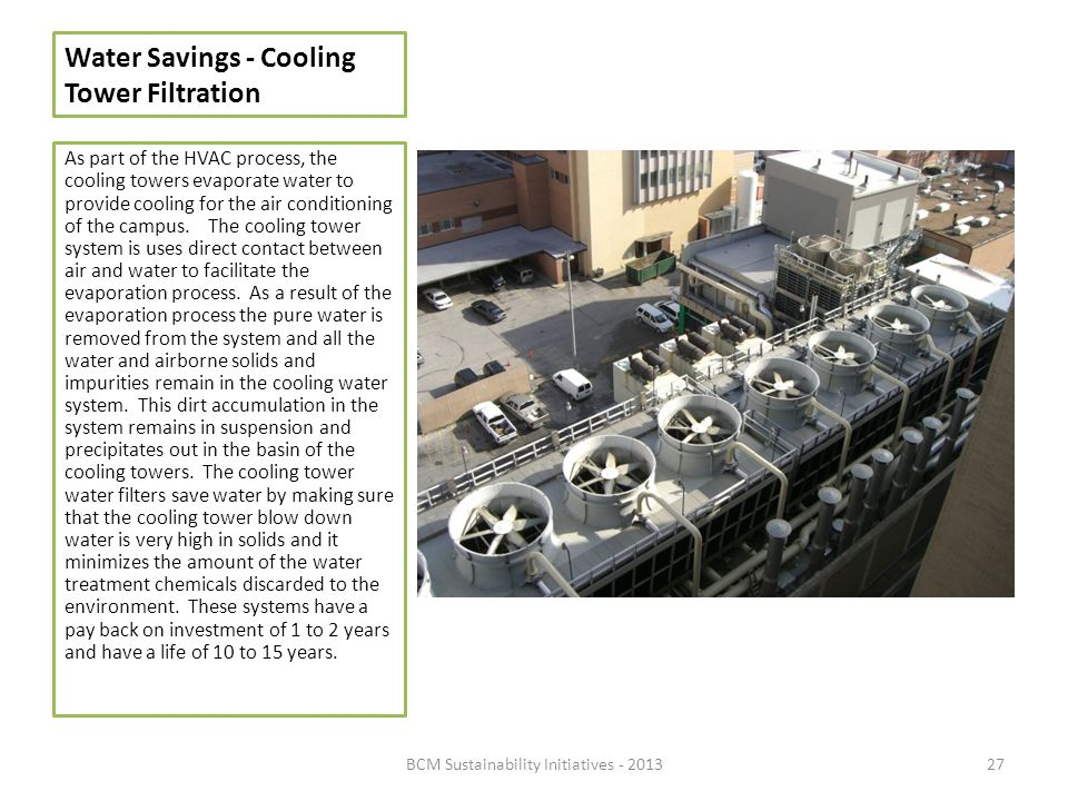 Water Savings - Cooling Tower Filtration