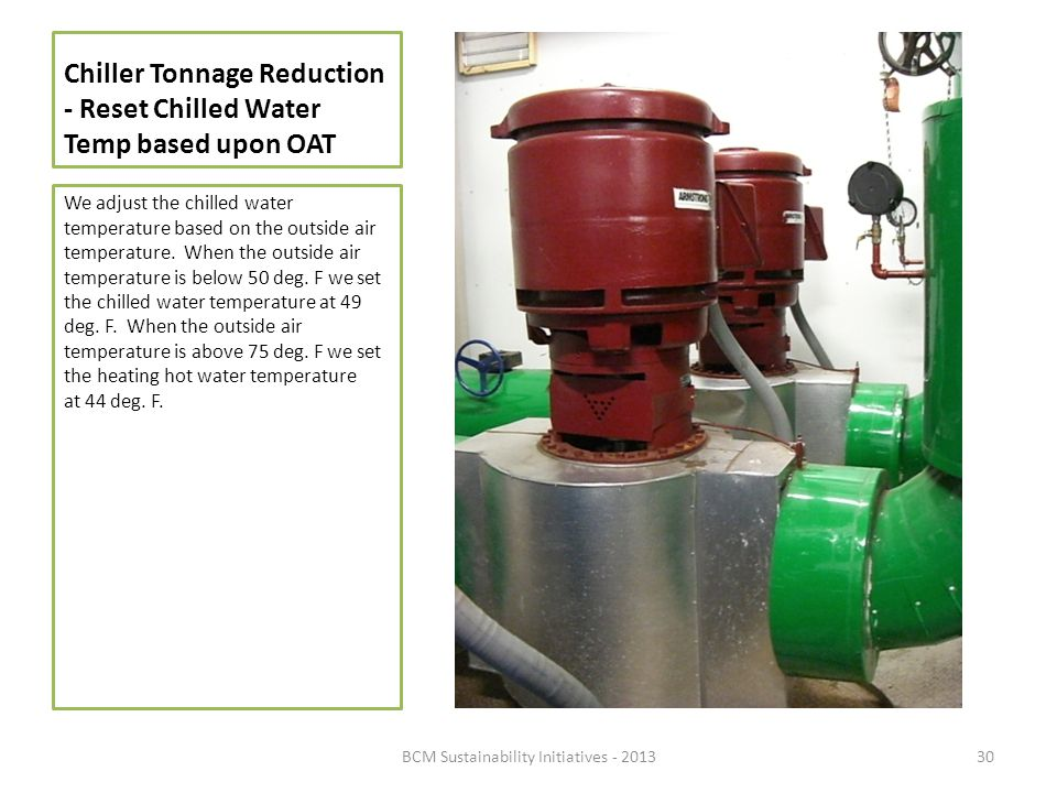 Chiller Tonnage Reduction - Reset Chilled Water Temp based upon OAT