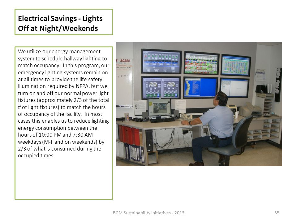 Electrical Savings - Lights Off at Night/Weekends