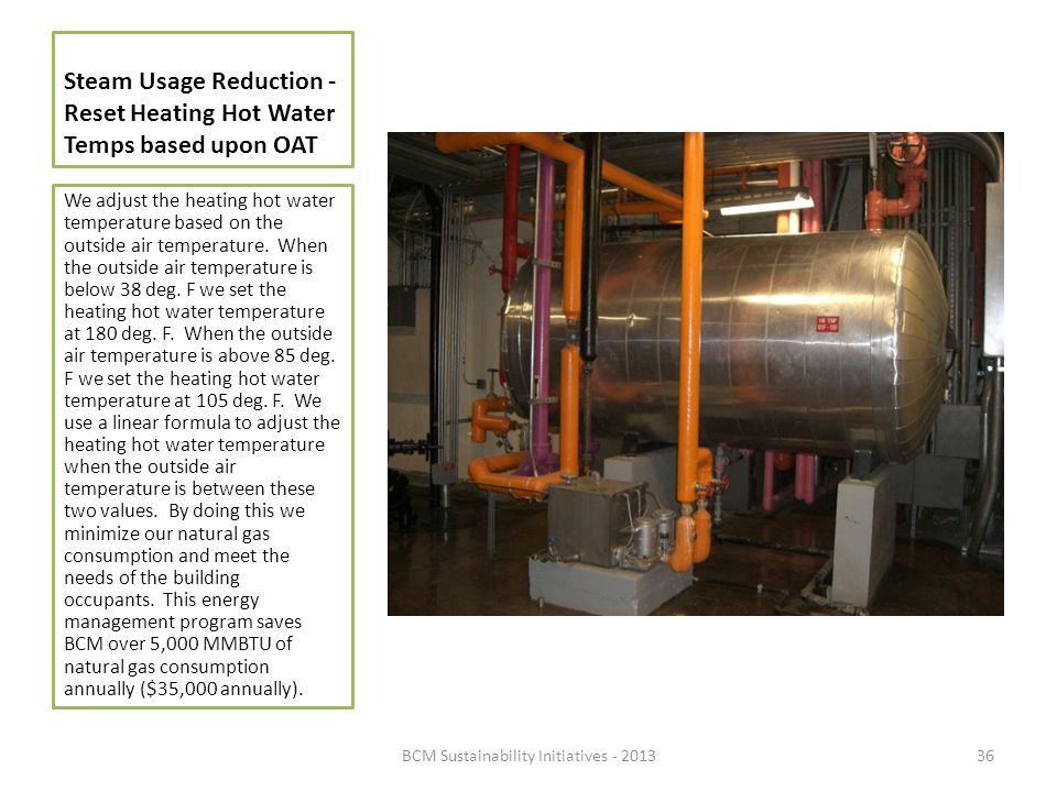 Steam Usage Reduction - Reset Heating Hot Water Temps based upon OAT