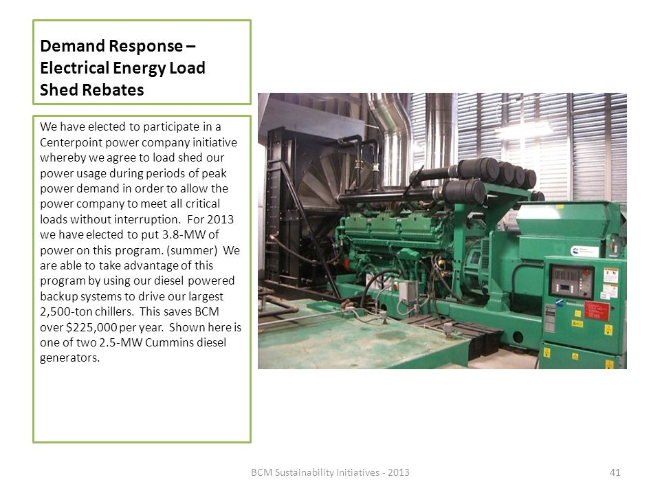 Demand Response – Electrical Energy Load Shed Rebates