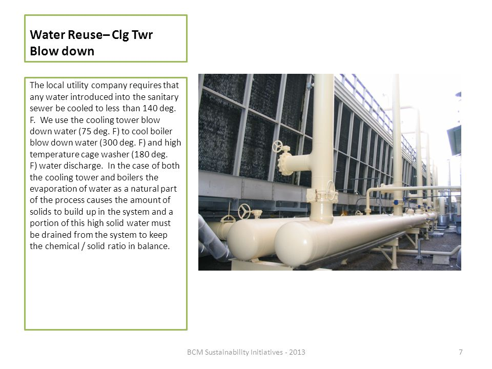 Water Reuse– Clg Twr Blow down