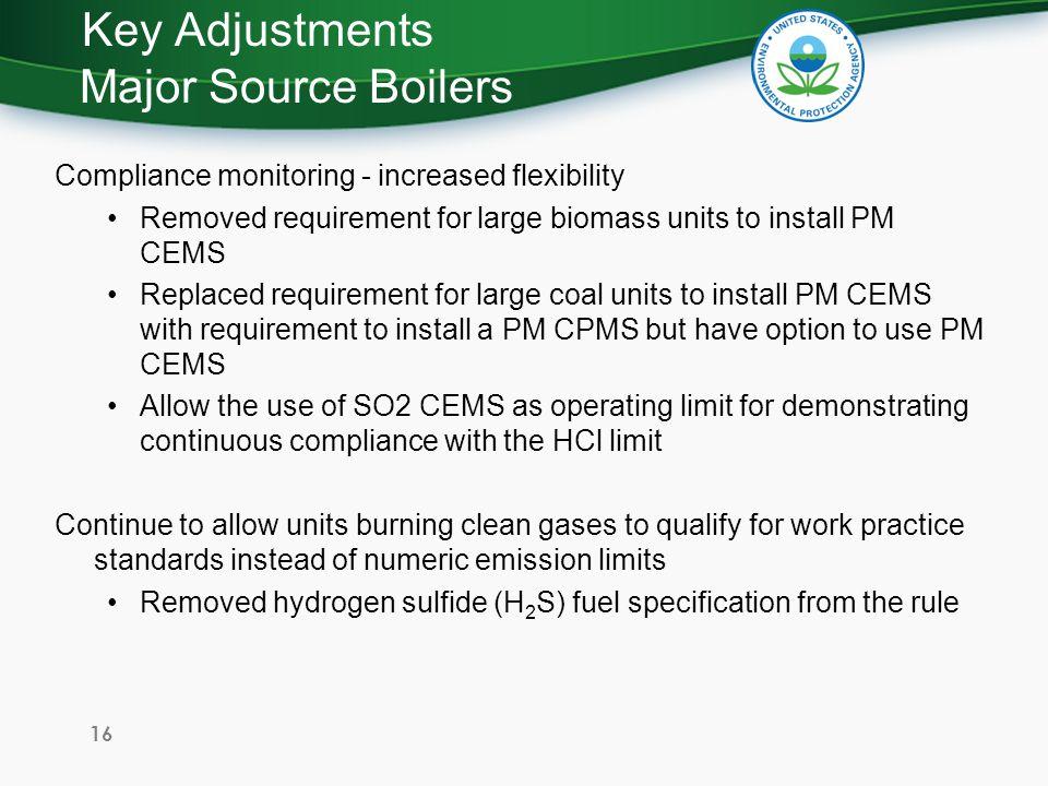 Key Adjustments Major Source Boilers