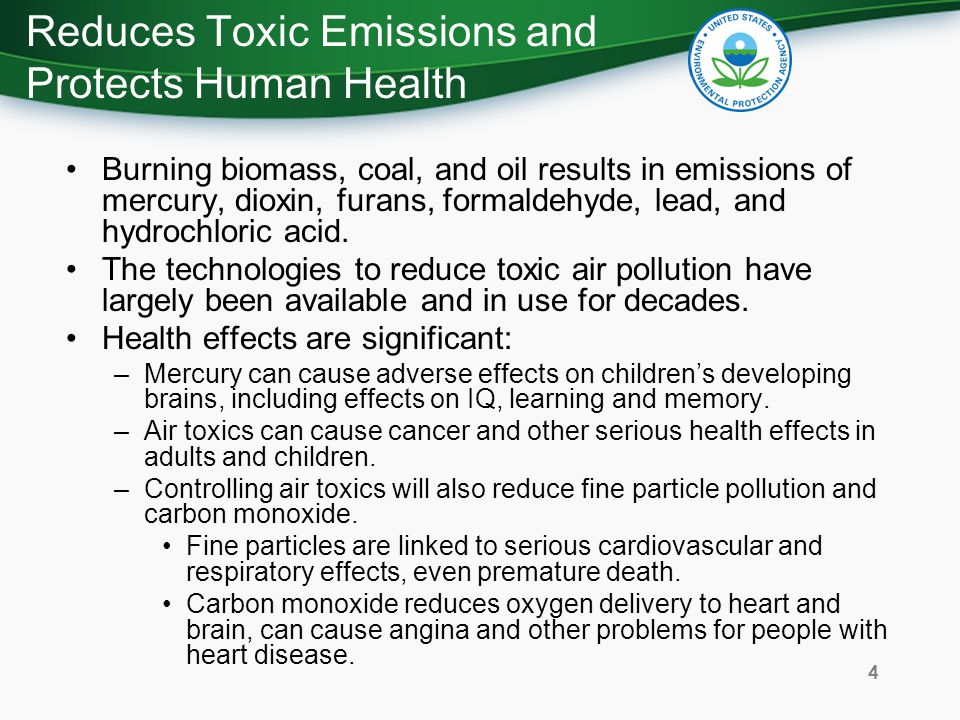 Reduces Toxic Emissions and Protects Human Health