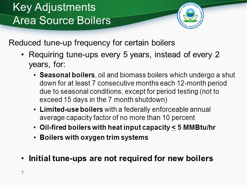 Key Adjustments Area Source Boilers