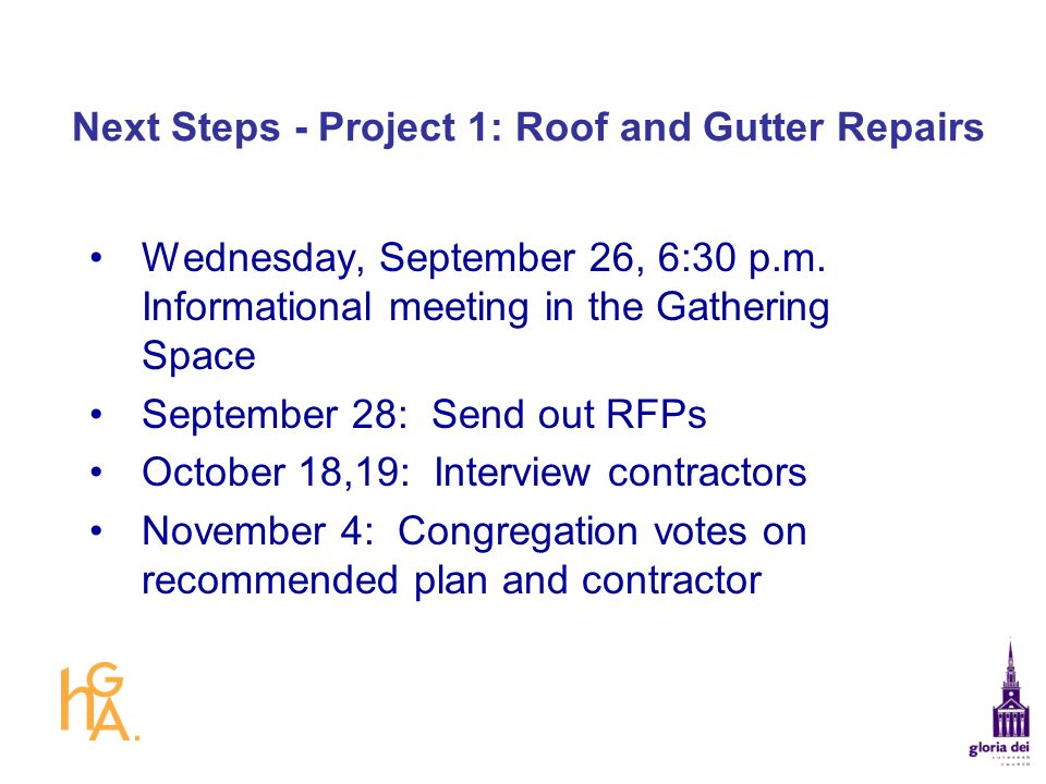 Next Steps - Project 1: Roof and Gutter Repairs