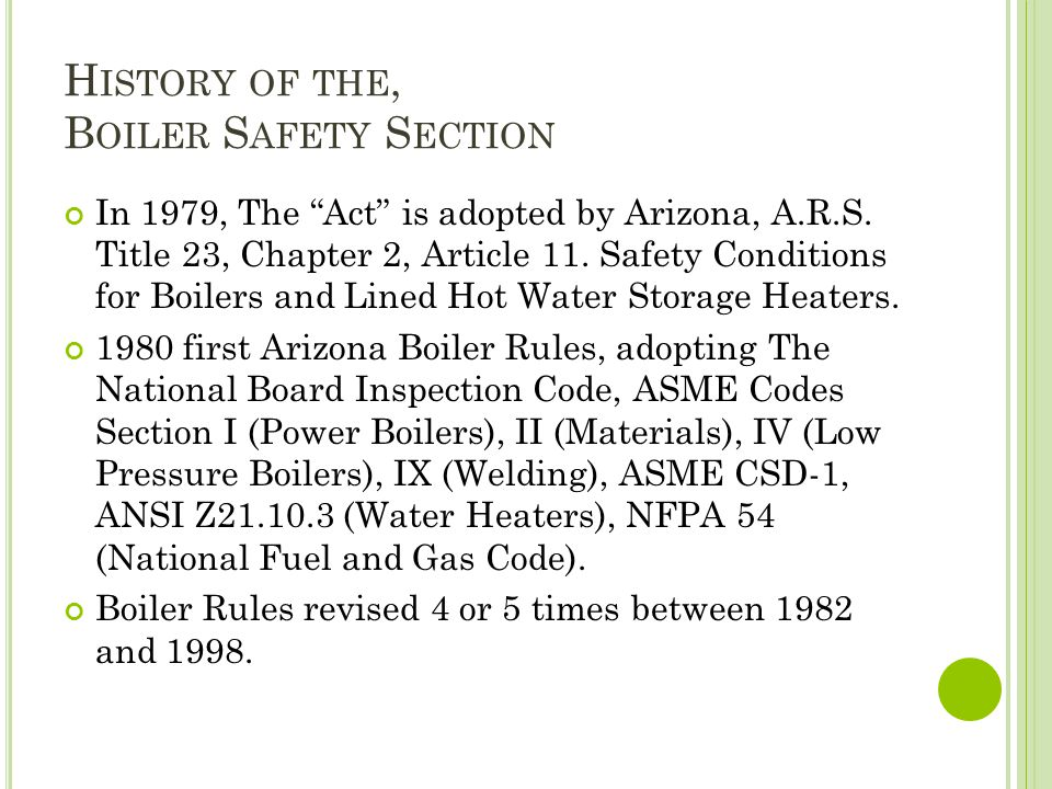 History of the, Boiler Safety Section