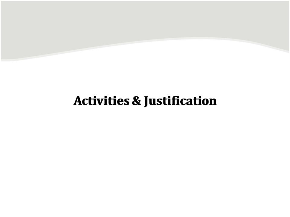 Activities & Justification