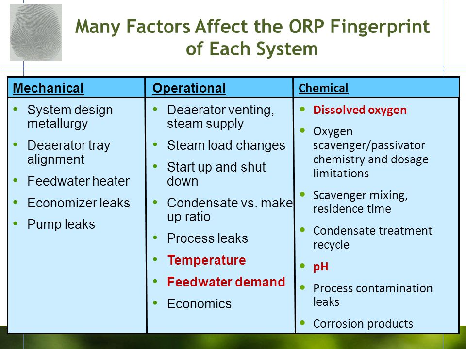 Many Factors Affect the ORP Fingerprint of Each System