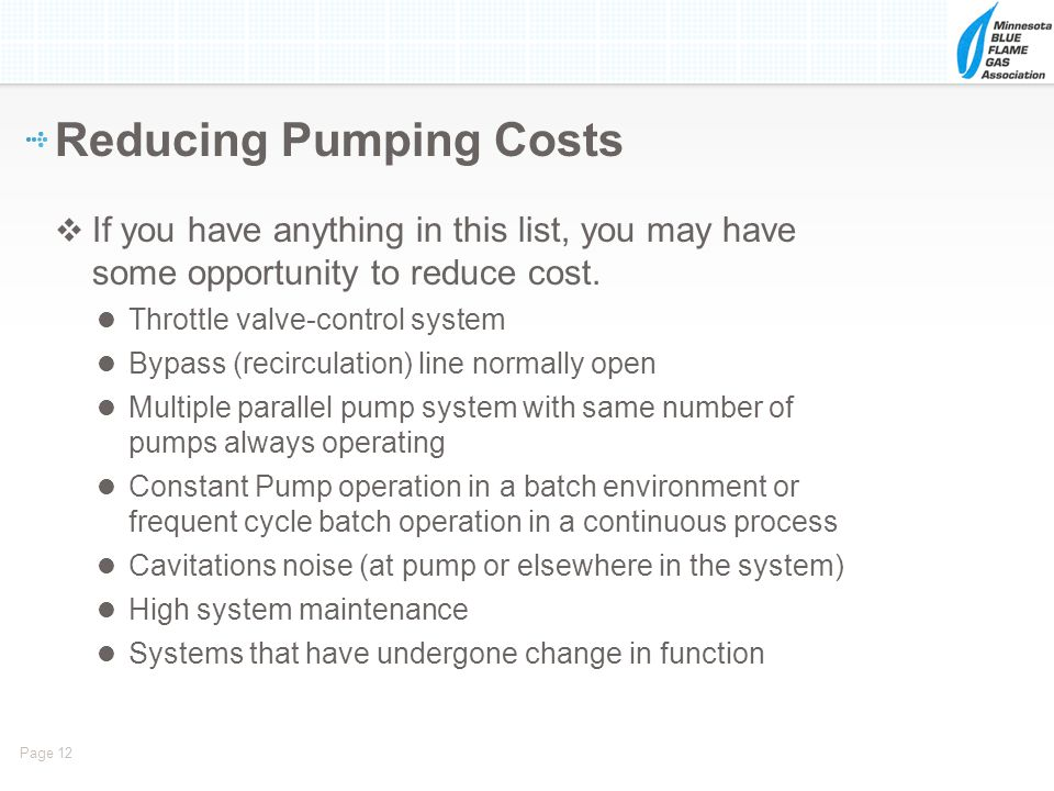 Reducing Pumping Costs