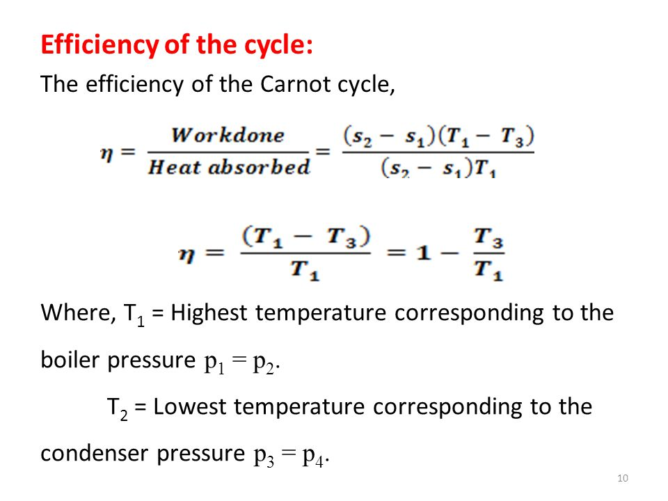 Efficiency of the cycle: